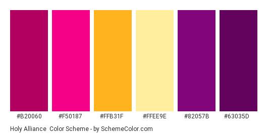 Holy Alliance - Color scheme palette thumbnail - #B20060 #F50187 #FFB31F #FFEE9E #82057B #63035D