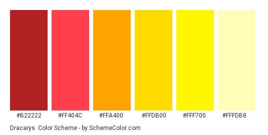 Dracarys - Color scheme palette thumbnail - #B22222 #FF404C #FFA400 #FFDB00 #FFF700 #FFFDB8