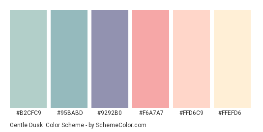 Gentle Dusk - Color scheme palette thumbnail - #B2CFC9 #95BABD #9292B0 #F6A7A7 #FFD6C9 #FFEFD6