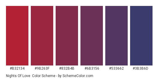 Nights of Love - Color scheme palette thumbnail - #B32134 #9B263F #832B4B #6B3156 #533662 #3B3B6D