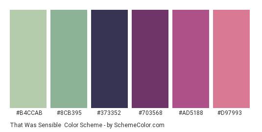 That was Sensible - Color scheme palette thumbnail - #B4CCAB #8CB395 #373352 #703568 #AD5188 #D97993