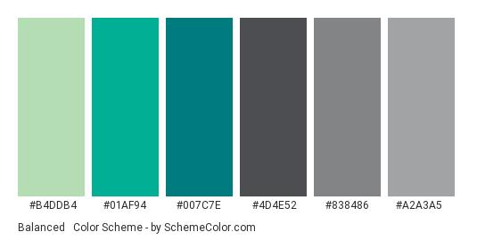 Balanced & Equality - Color scheme palette thumbnail - #B4DDB4 #01AF94 #007C7E #4D4E52 #838486 #A2A3A5
