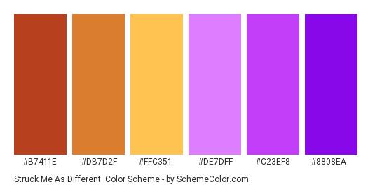 Struck Me As Different - Color scheme palette thumbnail - #B7411E #DB7D2F #FFC351 #DE7DFF #C23EF8 #8808EA