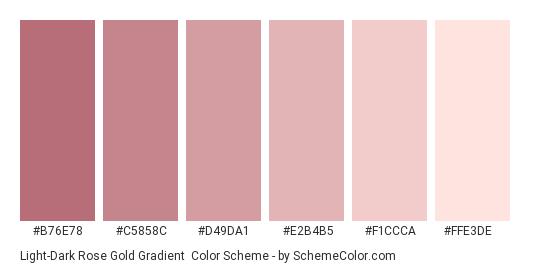 Light-Dark Rose Gold Gradient - Color scheme palette thumbnail - #B76E78 #C5858C #D49DA1 #E2B4B5 #F1CCCA #FFE3DE
