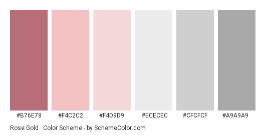 Rose Gold & Silver Grey - Color scheme palette thumbnail - #B76E78 #F4C2C2 #F4D9D9 #ECECEC #CFCFCF #A9A9A9