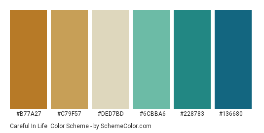 Careful in Life - Color scheme palette thumbnail - #B77A27 #C79F57 #DED7BD #6CBBA6 #228783 #136680