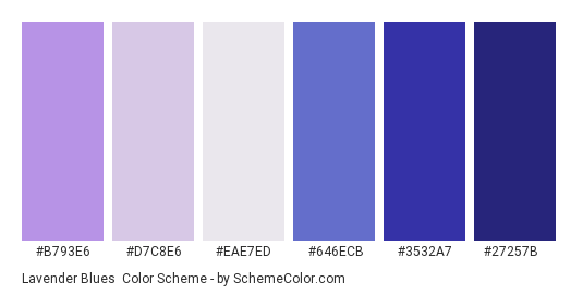 Lavender Blues - Color scheme palette thumbnail - #B793E6 #D7C8E6 #EAE7ED #646ECB #3532A7 #27257B