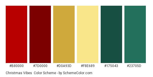 Christmas vibes - Color scheme palette thumbnail - #B80000 #7D0000 #D0A93D #F8E689 #175043 #23705D