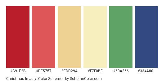 Christmas in July - Color scheme palette thumbnail - #B91E2B #DE5757 #EDD294 #F7F0BE #60a366 #334a80