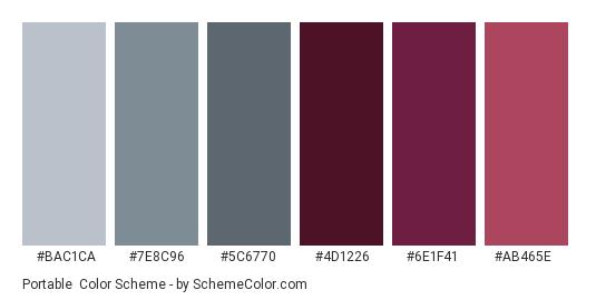 Portable - Color scheme palette thumbnail - #BAC1CA #7E8C96 #5C6770 #4D1226 #6E1F41 #AB465E
