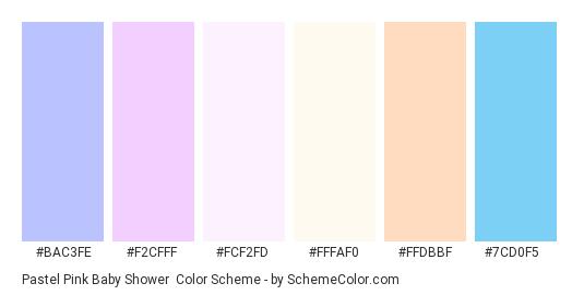 Pastel Pink Baby Shower - Color scheme palette thumbnail - #BAC3FE #F2CFFF #FCF2FD #FFFAF0 #FFDBBF #7CD0F5