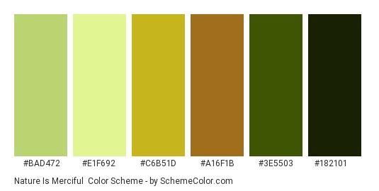 Nature is Merciful - Color scheme palette thumbnail - #BAD472 #E1F692 #C6B51D #A16F1B #3E5503 #182101