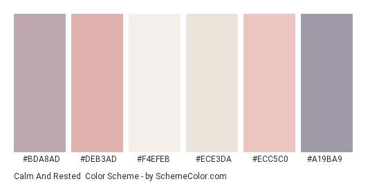 Calm and Rested - Color scheme palette thumbnail - #BDA8AD #DEB3AD #F4EFEB #ECE3DA #ECC5C0 #A19BA9