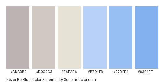 Never Be Blue - Color scheme palette thumbnail - #BDB3B2 #D0C9C3 #E6E2D6 #B7D1F8 #97BFF4 #83B1EF