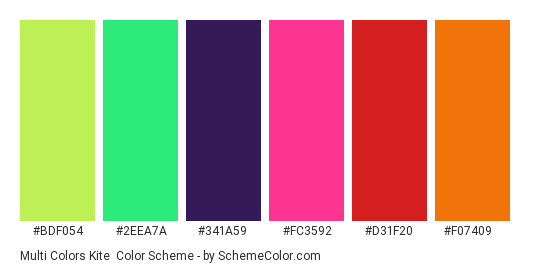 Multi Colors Kite - Color scheme palette thumbnail - #BDF054 #2EEA7A #341A59 #FC3592 #D31F20 #F07409