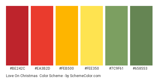 Love on Christmas - Color scheme palette thumbnail - #BE242C #EA3B2D #FEB500 #FEE350 #7C9F61 #658553