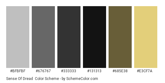 Sense of Dread - Color scheme palette thumbnail - #BFBFBF #676767 #333333 #131313 #685E38 #E3CF7A