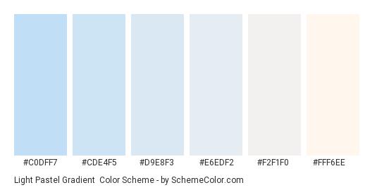 Light Pastel Gradient - Color scheme palette thumbnail - #C0DFF7 #CDE4F5 #D9E8F3 #E6EDF2 #F2F1F0 #FFF6EE