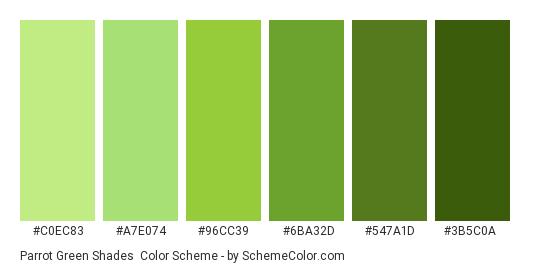 Parrot Green Shades - Color scheme palette thumbnail - #C0EC83 #A7E074 #96CC39 #6BA32D #547A1D #3B5C0A