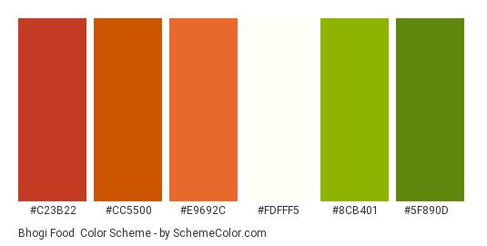 Bhogi Food - Color scheme palette thumbnail - #C23B22 #CC5500 #E9692C #FDFFF5 #8CB401 #5F890D