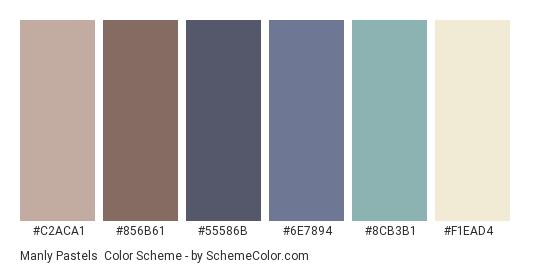 Manly Pastels - Color scheme palette thumbnail - #C2ACA1 #856B61 #55586B #6E7894 #8CB3B1 #F1EAD4