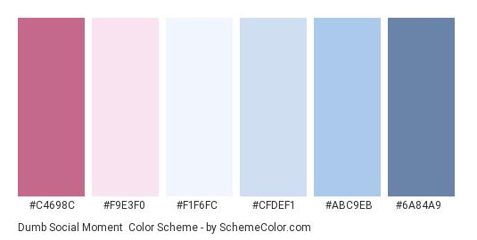 Dumb Social Moment - Color scheme palette thumbnail - #C4698C #F9E3F0 #F1F6FC #CFDEF1 #ABC9EB #6A84A9
