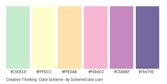 Creative Thinking - Color scheme palette thumbnail - #C5EBCE #FFFDCC #FFE0AB #F6B6D2 #C588BF #76679E