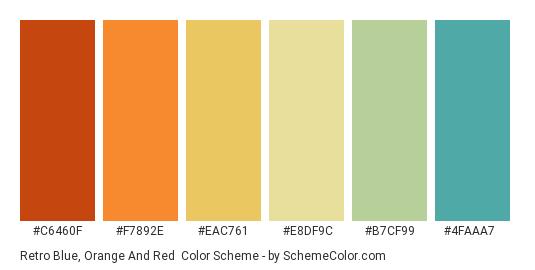 Retro Blue, Orange and Red - Color scheme palette thumbnail - #C6460F #F7892E #EAC761 #E8DF9C #B7CF99 #4FAAA7