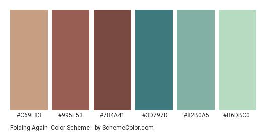 Folding Again - Color scheme palette thumbnail - #C69F83 #995E53 #784A41 #3D797D #82B0A5 #B6DBC0