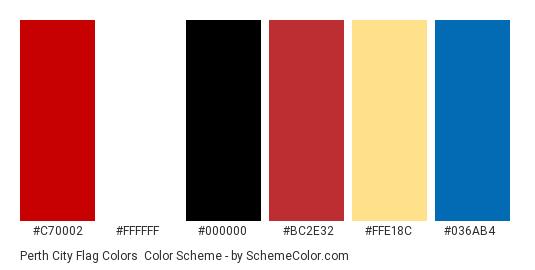 Perth City Flag Colors - Color scheme palette thumbnail - #C70002 #FFFFFF #000000 #BC2E32 #FFE18C #036AB4