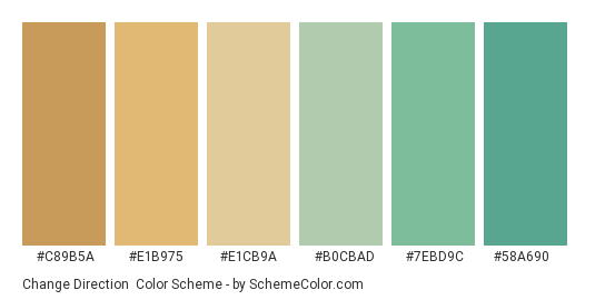 Change Direction - Color scheme palette thumbnail - #C89B5A #E1B975 #E1CB9A #B0CBAD #7EBD9C #58A690