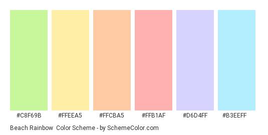 Beach Rainbow - Color scheme palette thumbnail - #C8F69B #FFEEA5 #FFCBA5 #FFB1AF #D6D4FF #B3EEFF