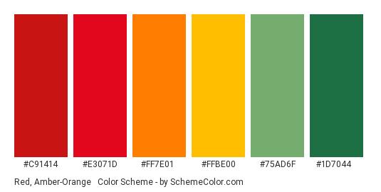 Red, Amber-Orange & Green - Color scheme palette thumbnail - #C91414 #E3071D #FF7E01 #FFBE00 #75AD6F #1D7044