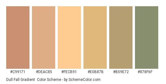 Dull Fall Gradient - Color scheme palette thumbnail - #C99171 #DEAC85 #FECB91 #E0B87B #B59E72 #878F6F