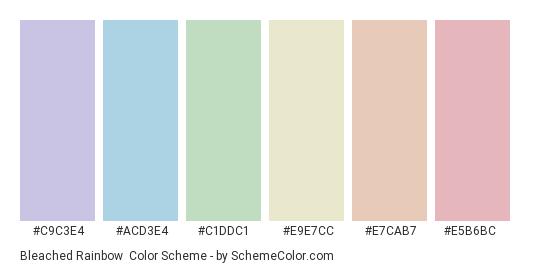 Bleached Rainbow - Color scheme palette thumbnail - #C9C3E4 #ACD3E4 #C1DDC1 #E9E7CC #E7CAB7 #E5B6BC