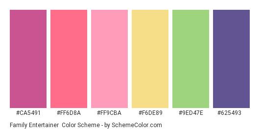 Family Entertainer - Color scheme palette thumbnail - #CA5491 #FF6D8A #FF9CBA #F6DE89 #9ED47E #625493
