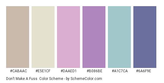 Don't Make a Fuss - Color scheme palette thumbnail - #CABAAC #e5e1cf #DAAED1 #B086BE #a1c7ca #6A6F9E