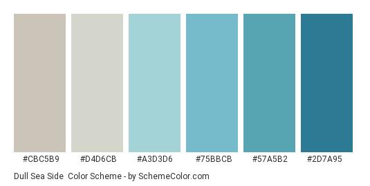Dull Sea Side - Color scheme palette thumbnail - #CBC5B9 #D4D6CB #A3D3D6 #75BBCB #57A5B2 #2D7A95