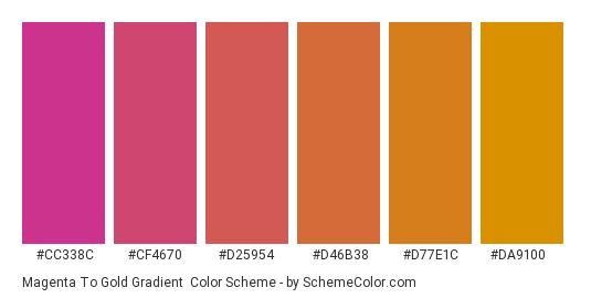 Magenta to Gold Gradient - Color scheme palette thumbnail - #CC338C #CF4670 #D25954 #D46B38 #D77E1C #DA9100