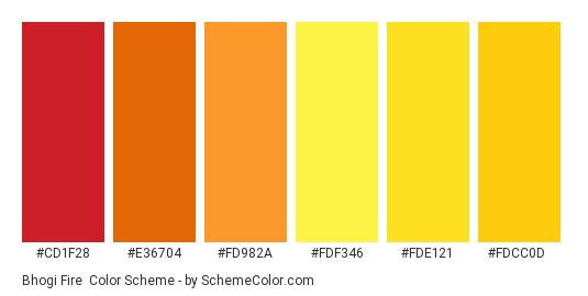 Bhogi Fire - Color scheme palette thumbnail - #CD1F28 #E36704 #FD982A #FDF346 #FDE121 #FDCC0D