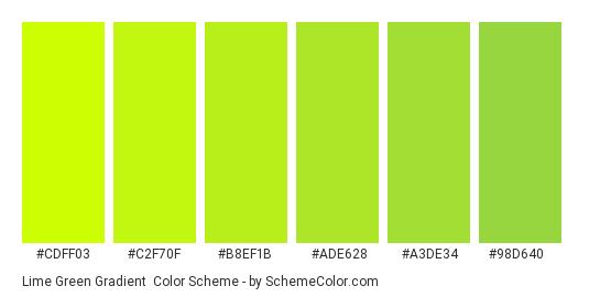 Lime Green Gradient - Color scheme palette thumbnail - #CDFF03 #C2F70F #B8EF1B #ADE628 #A3DE34 #98D640