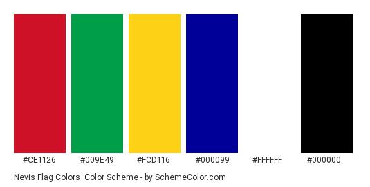 Nevis Flag Colors - Color scheme palette thumbnail - #CE1126 #009E49 #FCD116 #000099 #FFFFFF #000000