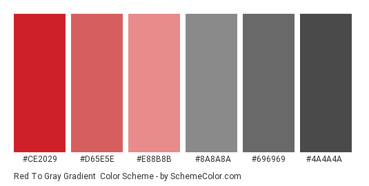 Red to Gray Gradient - Color scheme palette thumbnail - #CE2029 #D65E5E #E88B8B #8A8A8A #696969 #4A4A4A