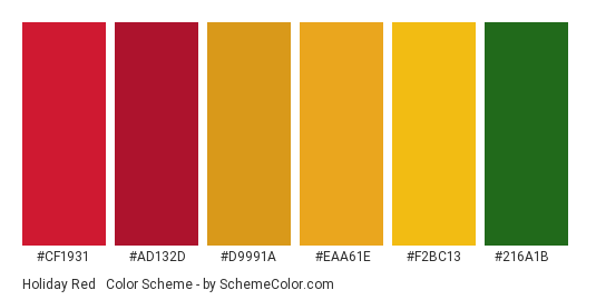 Holiday Red & Gold - Color scheme palette thumbnail - #CF1931 #AD132D #D9991A #EAA61E #F2BC13 #216a1b