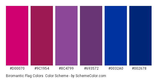 Biromantic Flag Colors - Color scheme palette thumbnail - #D00070 #9C1954 #8C4799 #693572 #0032A0 #002678