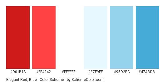 Elegant Red, Blue & White - Color scheme palette thumbnail - #D01B1B #FF4242 #FFFFFF #e7f9ff #95D2EC #47abd8