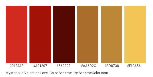 Mysterious Valentine Love - Color scheme palette thumbnail - #D12A1E #A21207 #560903 #AA6D2C #BD8738 #F1C656