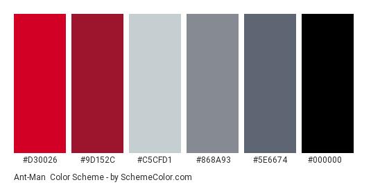 Ant-Man - Color scheme palette thumbnail - #D30026 #9D152C #C5CFD1 #868A93 #5E6674 #000000