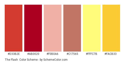The Flash - Color scheme palette thumbnail - #D33B2E #AB0020 #F0B0A6 #C17565 #FFFC7B #FACB33