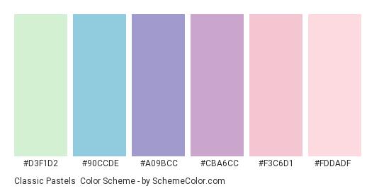 Classic Pastels - Color scheme palette thumbnail - #D3F1D2 #90CCDE #A09BCC #CBA6CC #F3C6D1 #FDDADF